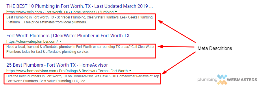 Plumber Meta Descriptions are useful part of on-site SEO
