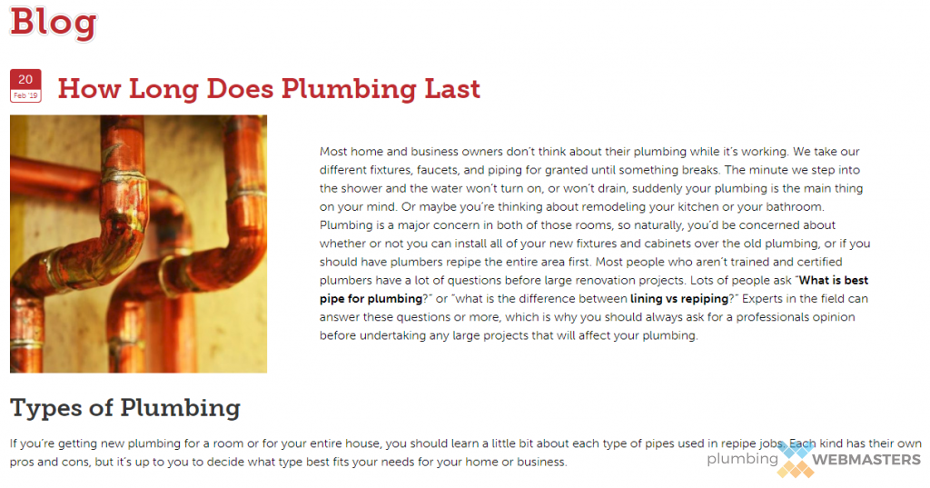 Quality Plumber Blogging Means Optimizing for Mobile Viewing