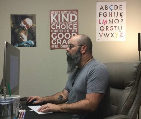 Web Developer Jason at His Desk