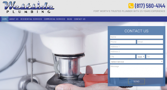 Westside Plumbing's Homepage Landing Screen