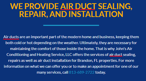 Air Duct Marketing Page
