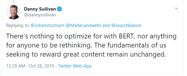 Danny Sullivan on the Google BERT Update