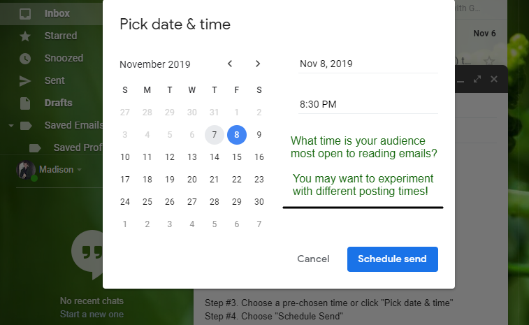 Email Date Scheduling