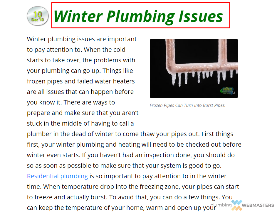 Example of Plumbing Blog Post