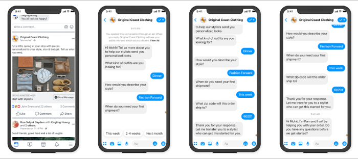 Mobile View of a Business to Consumer Messenger Chat