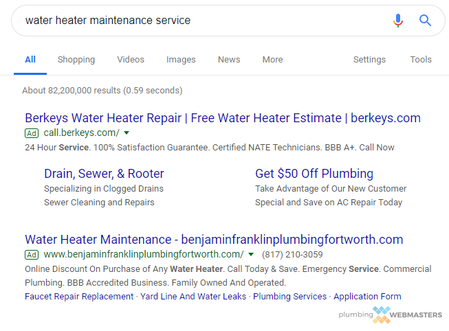 An Adwords Campaign for New Plumbing Service