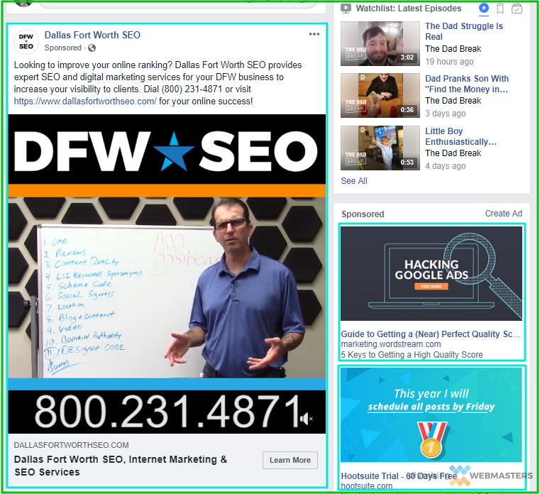 Screenshot of On-Page Facebook Ad Positions