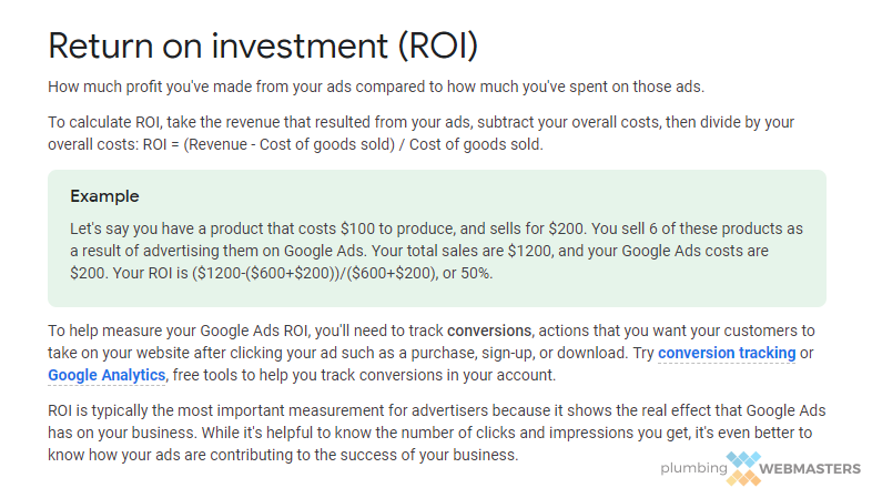 Google ROI Screenshot