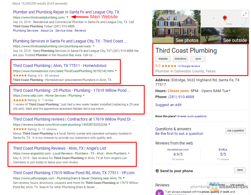 Google SERP Screenshot Third Coast Plumbing