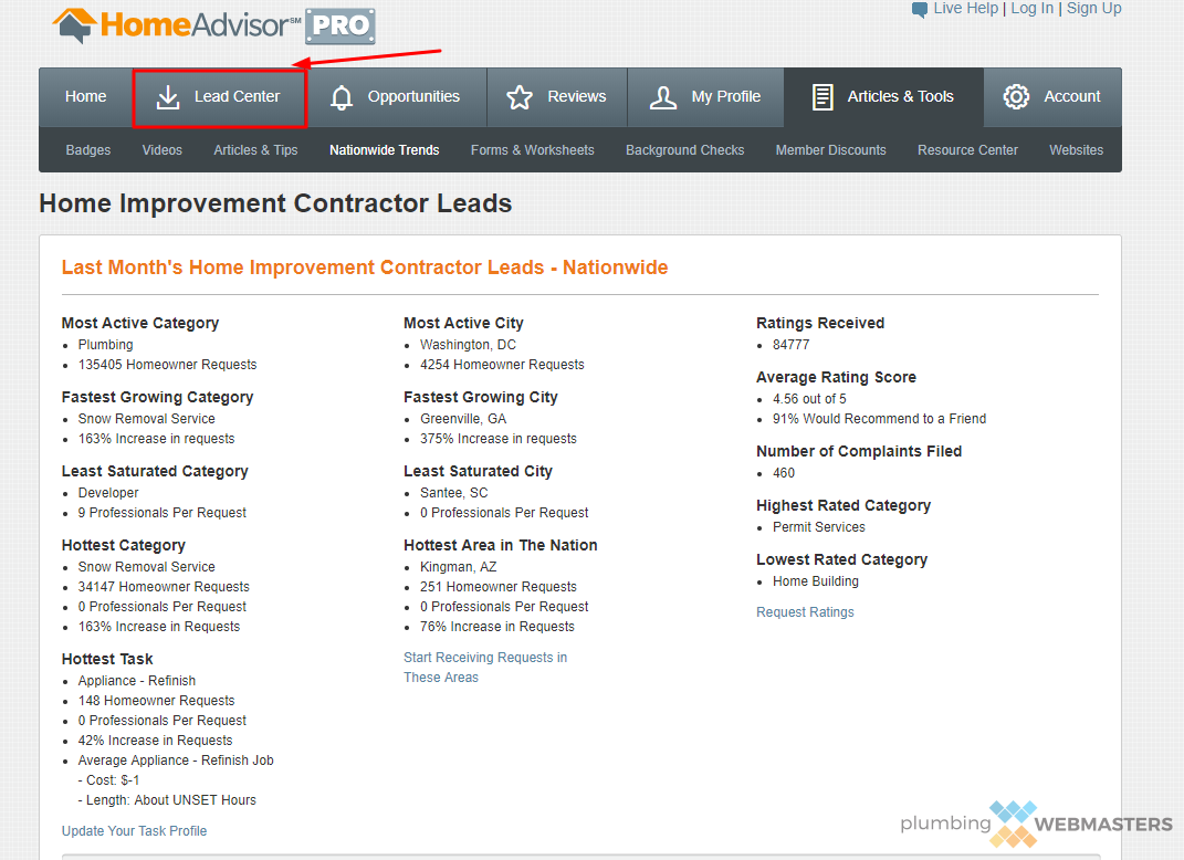HomeAdvisor Lead Center Screenshot