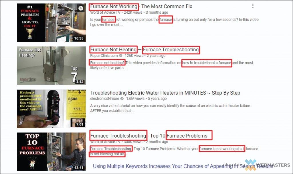 Plumbing Keywords in YouTube Search