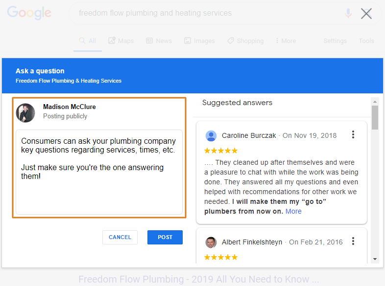 The Question and Answer Section of a Plumbing Company's Knowledge Graph