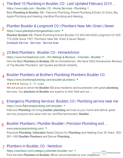 Organic SEO Puts Your Plumbing Business Higher On Search Results Pages Like This