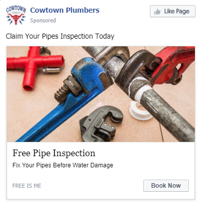 Plumber Facebook Ad Example