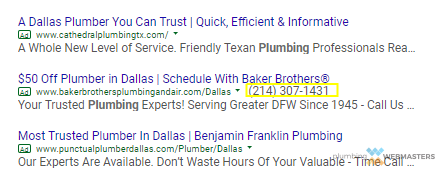 Plumber Google PPC Results