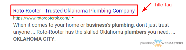 Plumber Title Tag Example