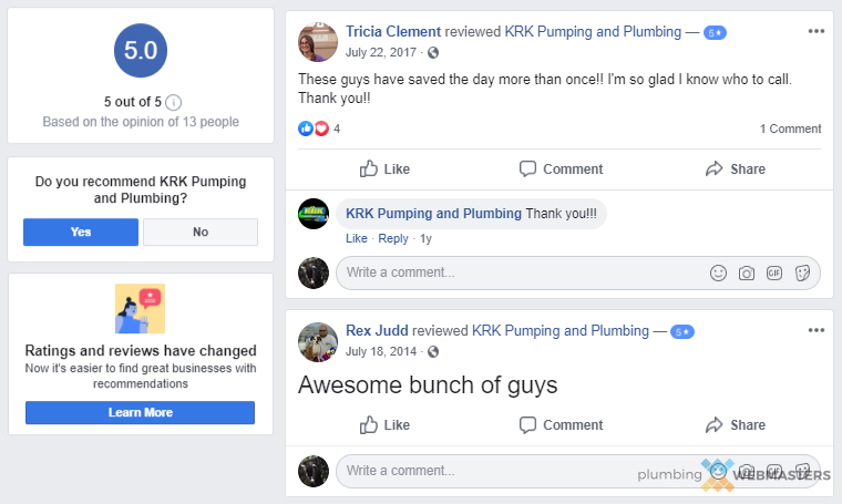 Examples of Great Reviews on a Facebook Business Page
