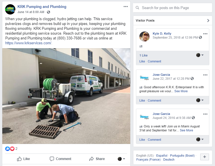 Plumbing Contractors Leave a Post on Their Facebook Business Page