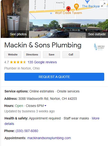 Plumbing GMB Listing