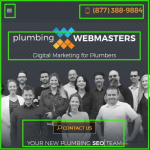 Mobile View for Plumbing Webmasters
