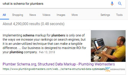 Plumbing Webmasters Featured Snippet