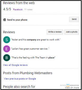 Bottom Portion of the Plumbing Webmasters Google Hompage