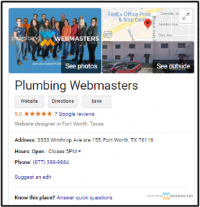 Top Portion of the Plumbing Webmasters Google Homepage
