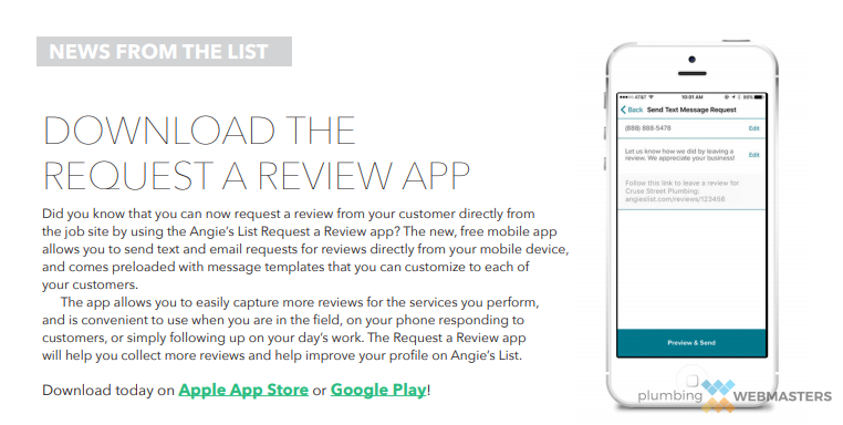 An Angie's List App for Asking for Reviews