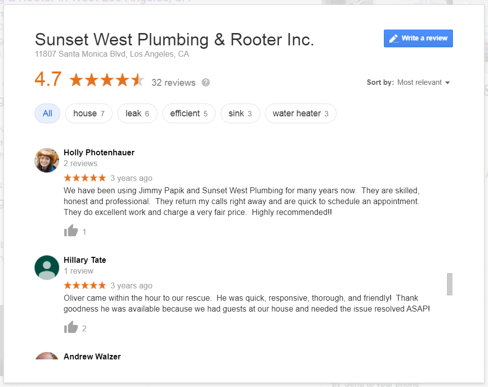 A Snapshot of Sunset West's Google Reviews