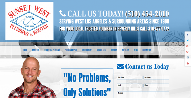 The Landing Page for Sunset West