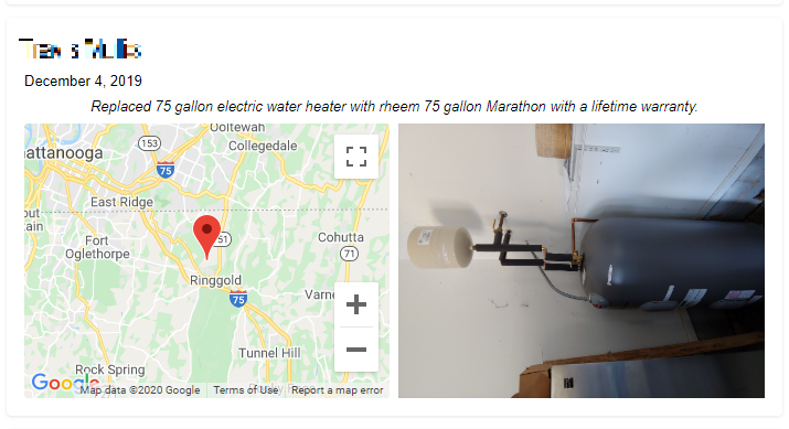 Water Heater Installation Check-in Mark