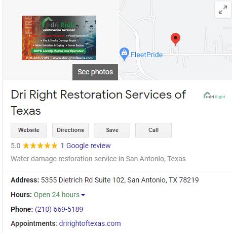 Water Restoration GMB Listing